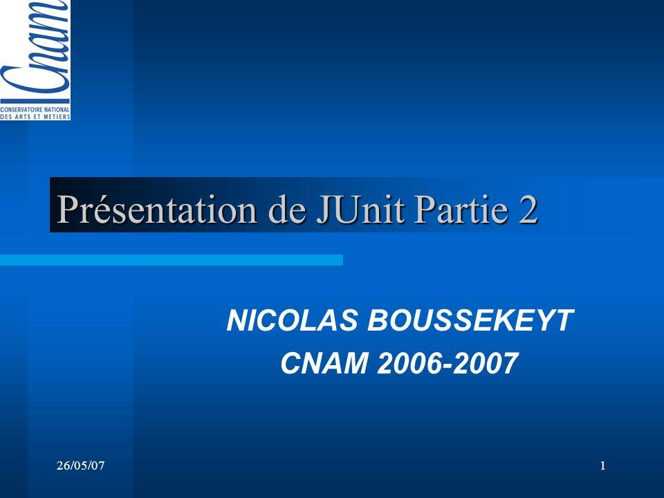 26/05/071 Présentation de JUnit Partie 2 NICOLAS BOUSSEKEYT CNAM 2006-2007
