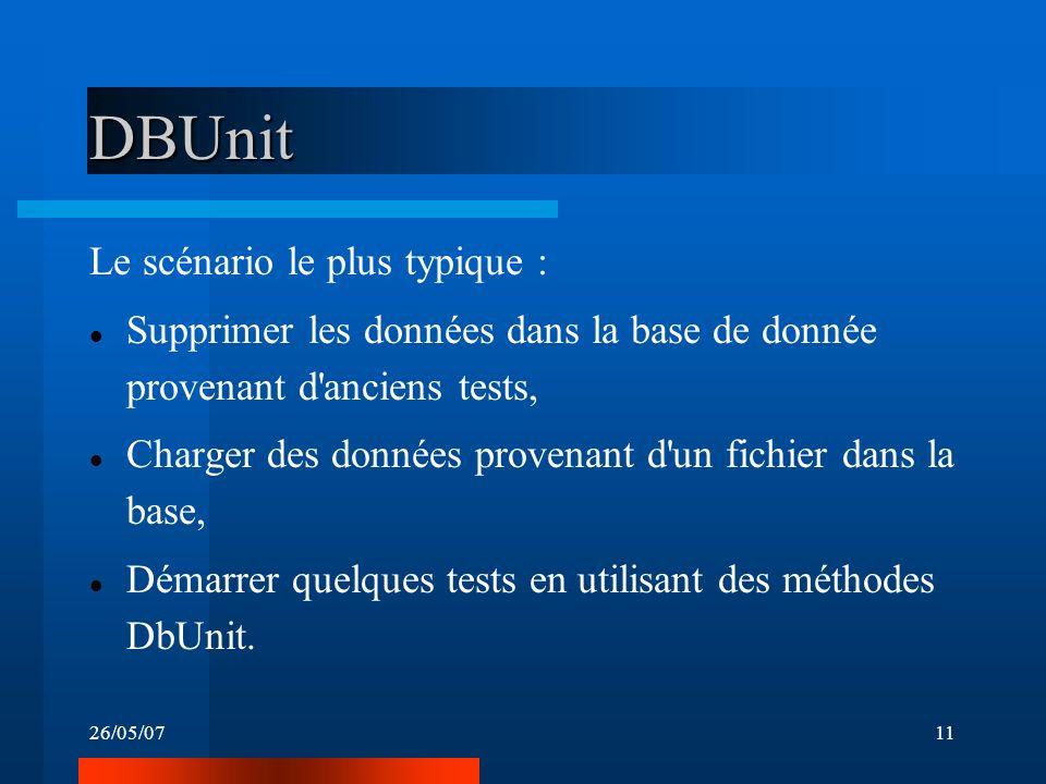 26/05/0711 DBUnit Le scénario le plus typique : Supprimer les données dans la base de donnée provenant d anciens tests, Charger des données provenant d un fichier dans la base, Démarrer quelques tests en utilisant des méthodes DbUnit.