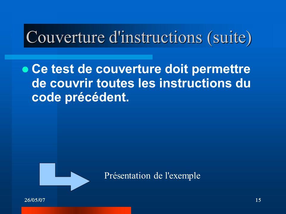 26/05/0715 Couverture d instructions (suite) Ce test de couverture doit permettre de couvrir toutes les instructions du code précédent.