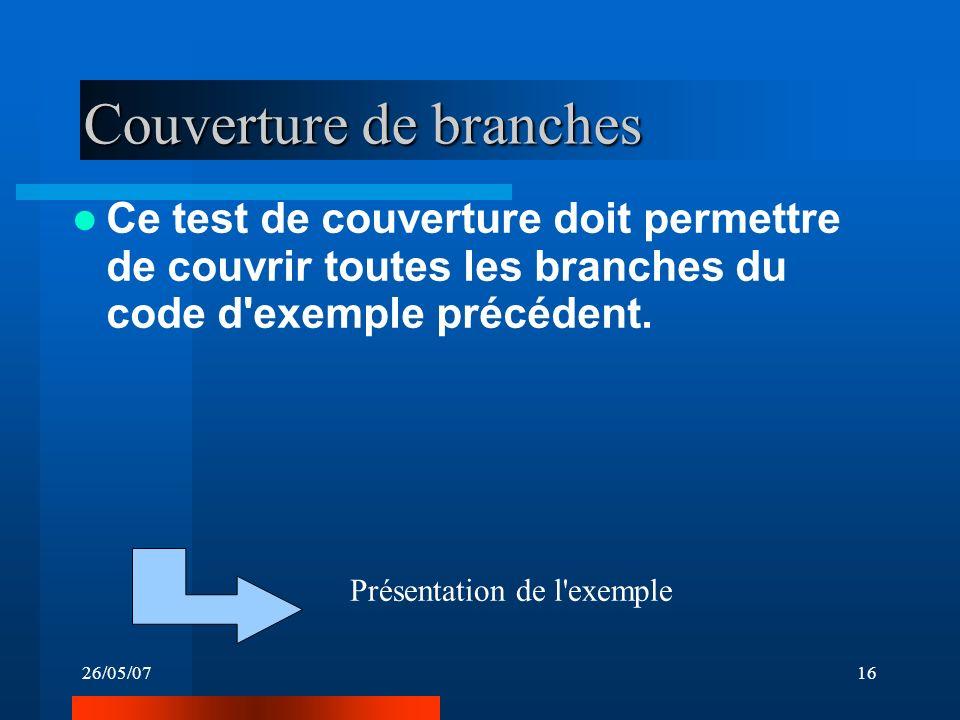 26/05/0716 Couverture de branches Ce test de couverture doit permettre de couvrir toutes les branches du code d'exemple précédent. Présentation de l'e