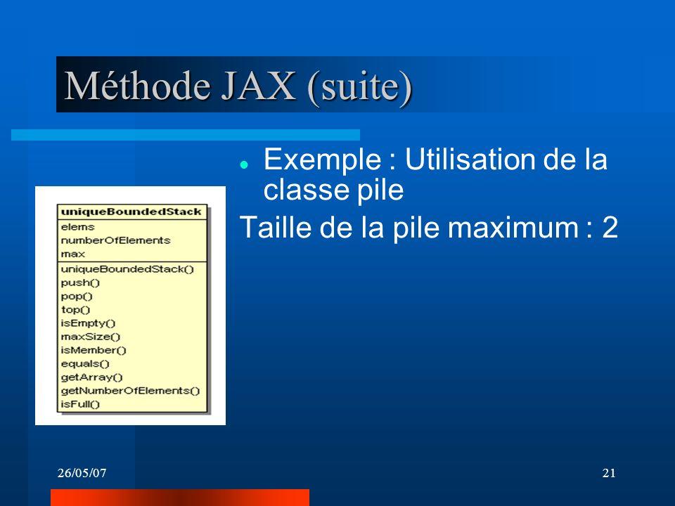 26/05/0721 Méthode JAX (suite) Exemple : Utilisation de la classe pile Taille de la pile maximum : 2