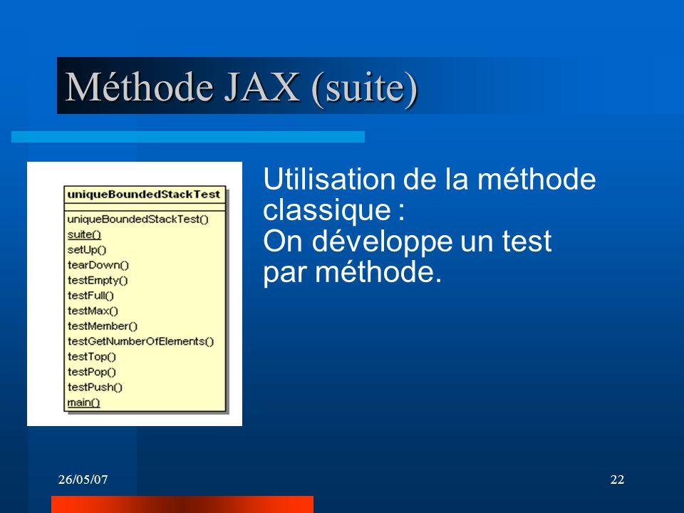 26/05/0722 Méthode JAX (suite) Utilisation de la méthode classique : On développe un test par méthode.