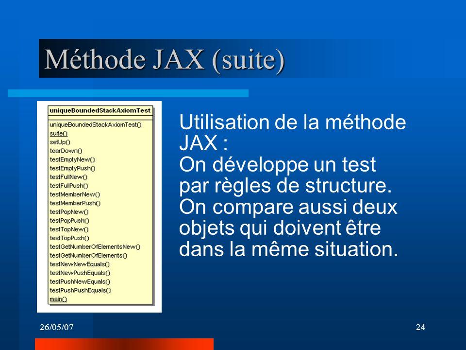 26/05/0724 Méthode JAX (suite) Utilisation de la méthode JAX : On développe un test par règles de structure. On compare aussi deux objets qui doivent