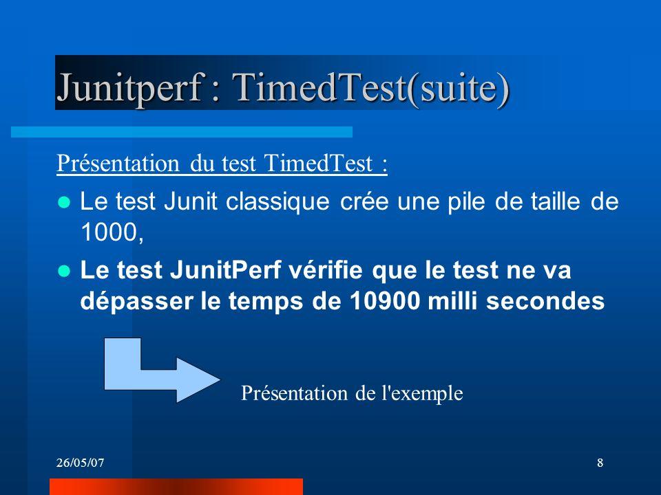 26/05/078 Junitperf : TimedTest(suite) Présentation du test TimedTest : Le test Junit classique crée une pile de taille de 1000, Le test JunitPerf vérifie que le test ne va dépasser le temps de 10900 milli secondes Présentation de l exemple