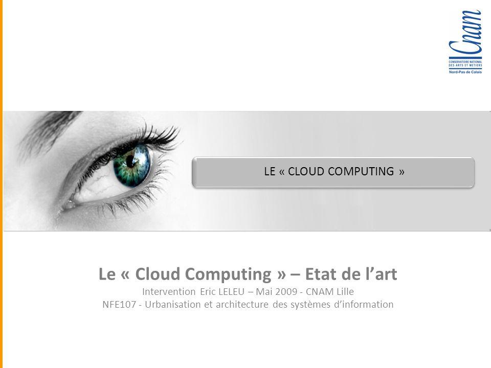 Quadra Informatique LE « CLOUD COMPUTING » Le « Cloud Computing » – Etat de lart Intervention Eric LELEU – Mai 2009 - CNAM Lille NFE107 - Urbanisation