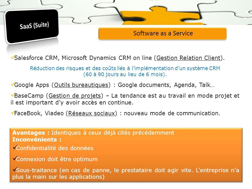 Software as a Service Salesforce CRM, Microsoft Dynamics CRM on line (Gestion Relation Client). Réduction des risques et des coûts liés à limplémentat