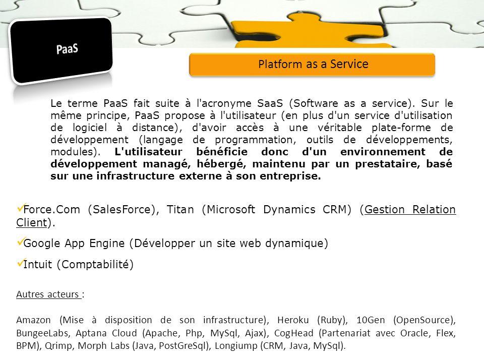 Platform as a Service Le terme PaaS fait suite à l'acronyme SaaS (Software as a service). Sur le même principe, PaaS propose à l'utilisateur (en plus