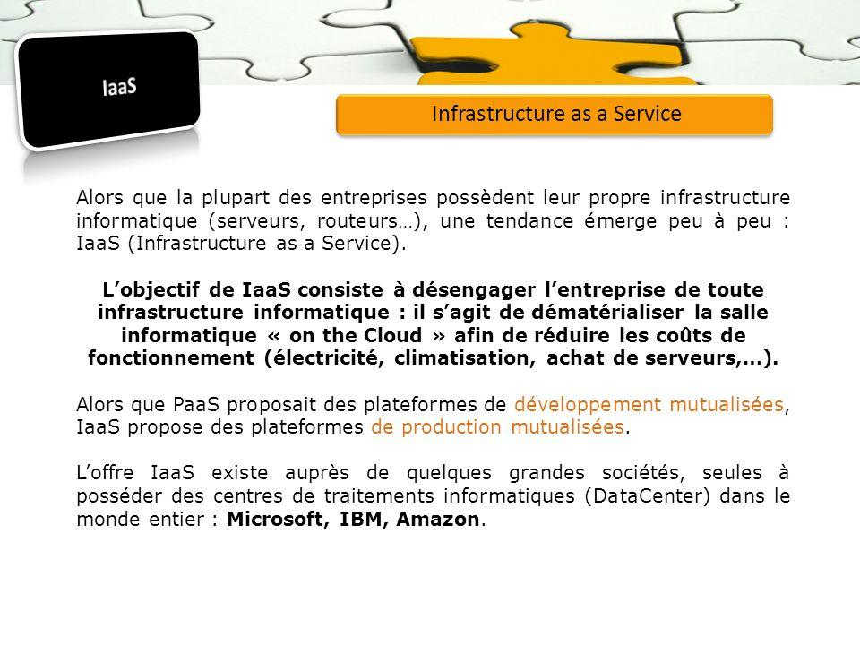 Infrastructure as a Service Alors que la plupart des entreprises possèdent leur propre infrastructure informatique (serveurs, routeurs…), une tendance