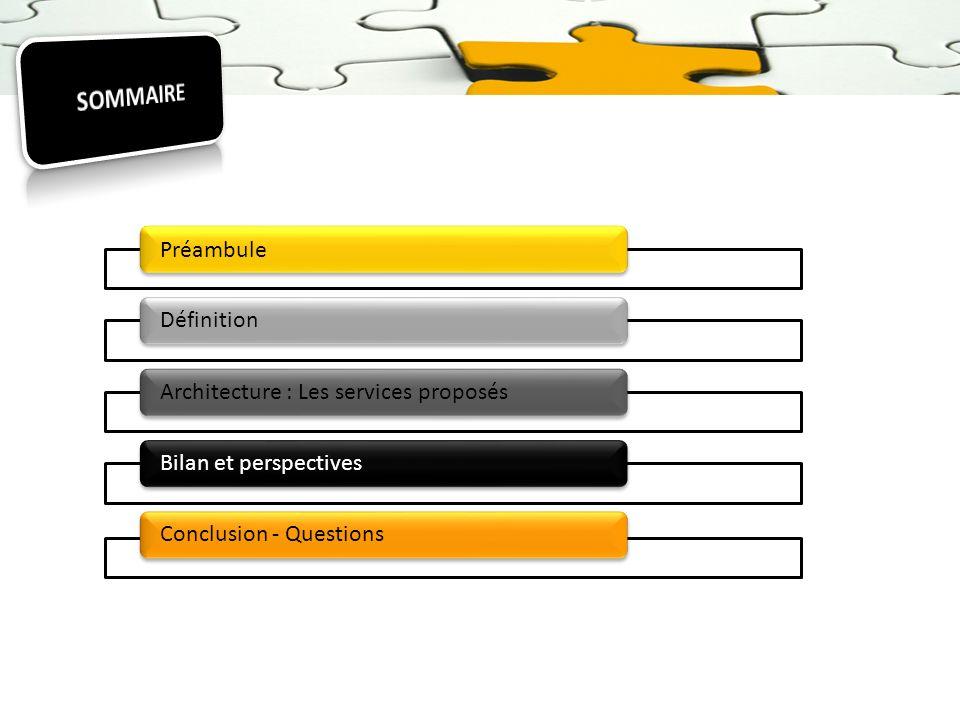 Préambule DéfinitionArchitecture : Les services proposésBilan et perspectivesConclusion - Questions