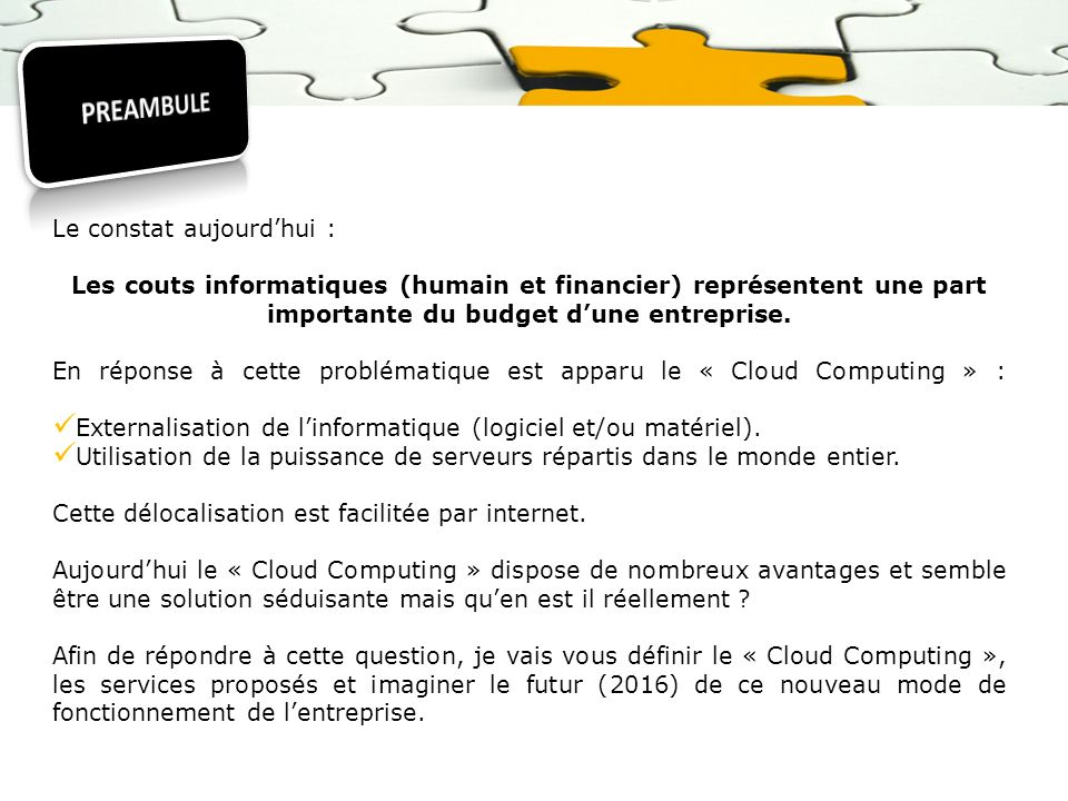 Le « Cloud Computing » est un concept récent qui intéresse les géants de linformatique qui investissent de façon colossale.