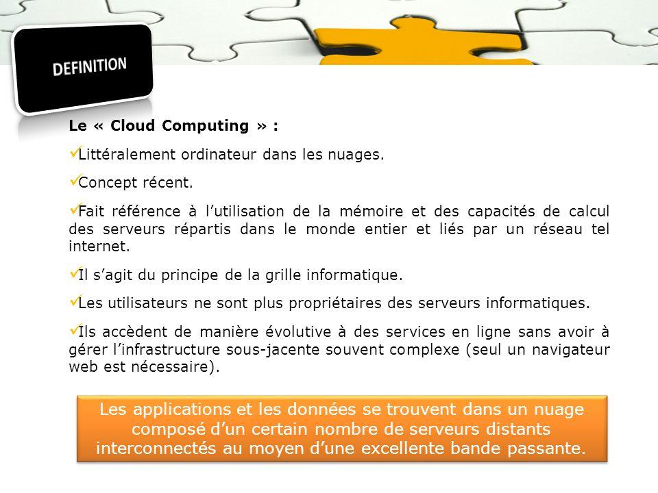 Le « Cloud Computing » : Littéralement ordinateur dans les nuages. Concept récent. Fait référence à lutilisation de la mémoire et des capacités de cal