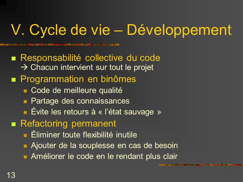 13 V. Cycle de vie – Développement Responsabilité collective du code Chacun intervient sur tout le projet Programmation en binômes Code de meilleure q