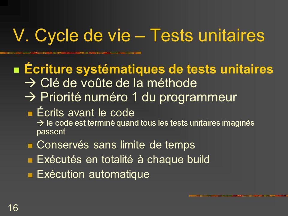 16 V. Cycle de vie – Tests unitaires Écriture systématiques de tests unitaires Clé de voûte de la méthode Priorité numéro 1 du programmeur Écrits avan