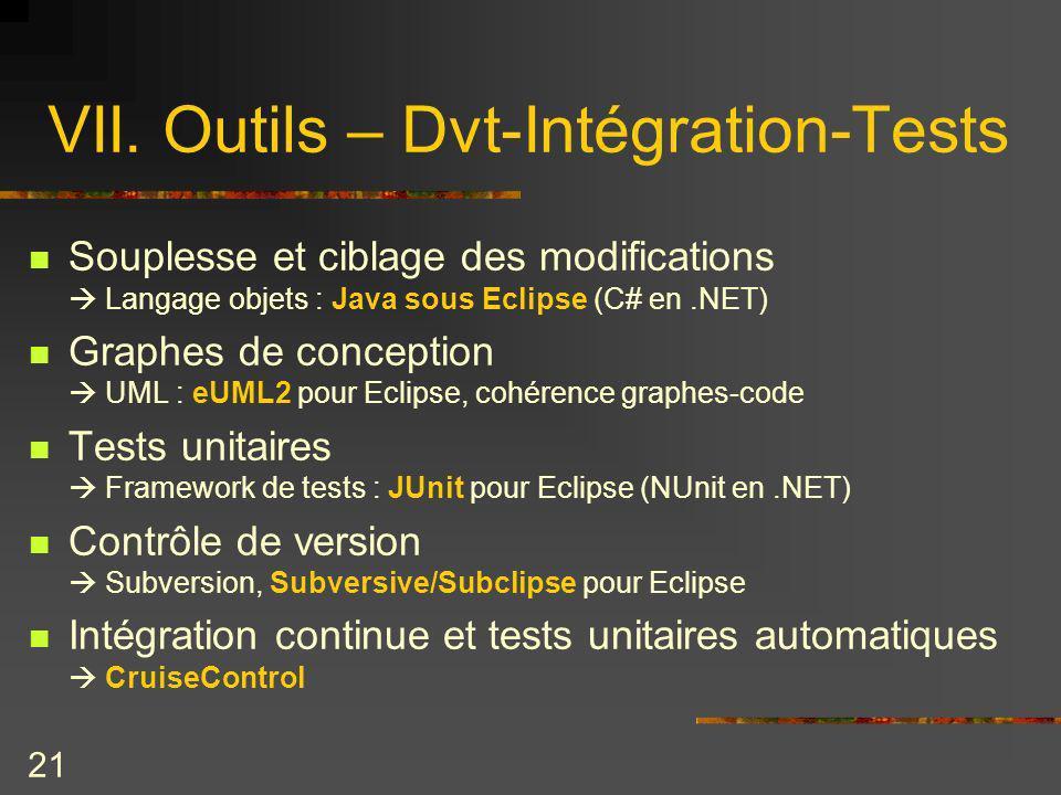 21 VII. Outils – Dvt-Intégration-Tests Souplesse et ciblage des modifications Langage objets : Java sous Eclipse (C# en.NET) Graphes de conception UML