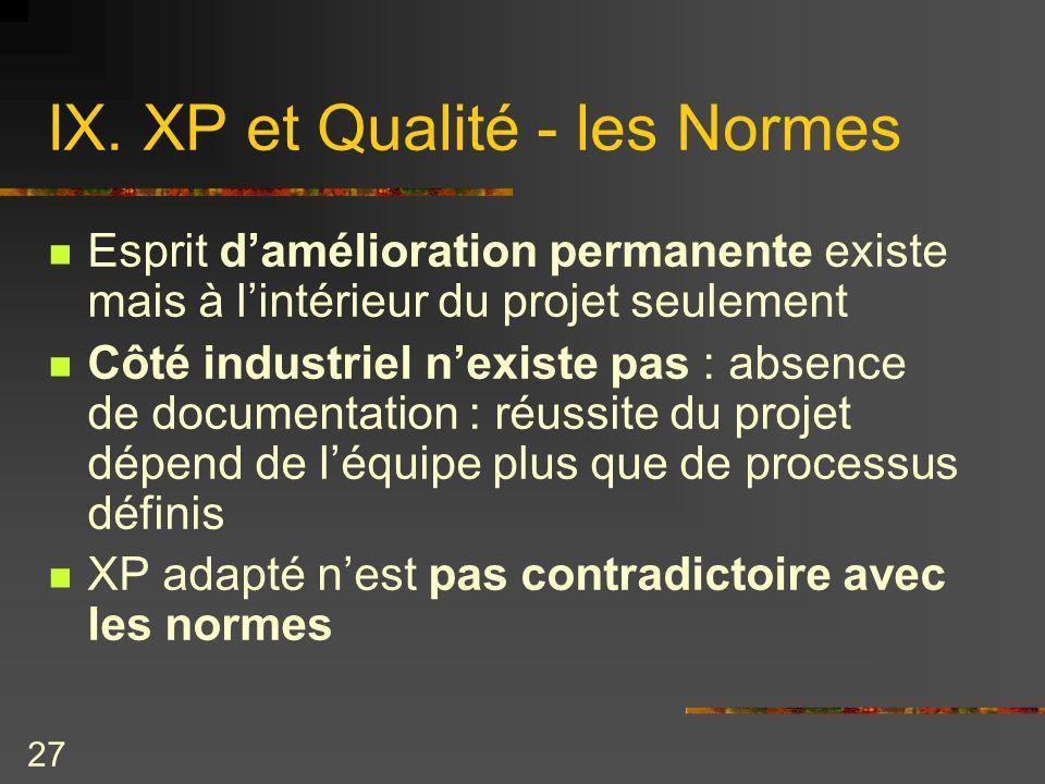 27 IX. XP et Qualité - les Normes Esprit damélioration permanente existe mais à lintérieur du projet seulement Côté industriel nexiste pas : absence d