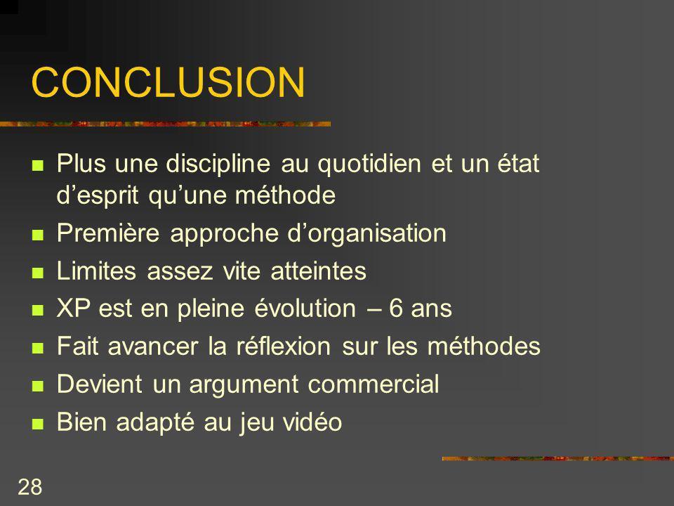 28 CONCLUSION Plus une discipline au quotidien et un état desprit quune méthode Première approche dorganisation Limites assez vite atteintes XP est en