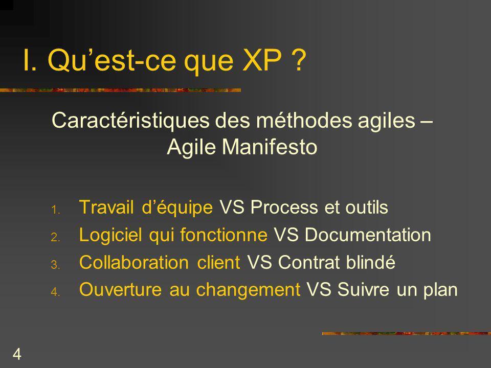 4 I. Quest-ce que XP ? Caractéristiques des méthodes agiles – Agile Manifesto 1. Travail déquipe VS Process et outils 2. Logiciel qui fonctionne VS Do