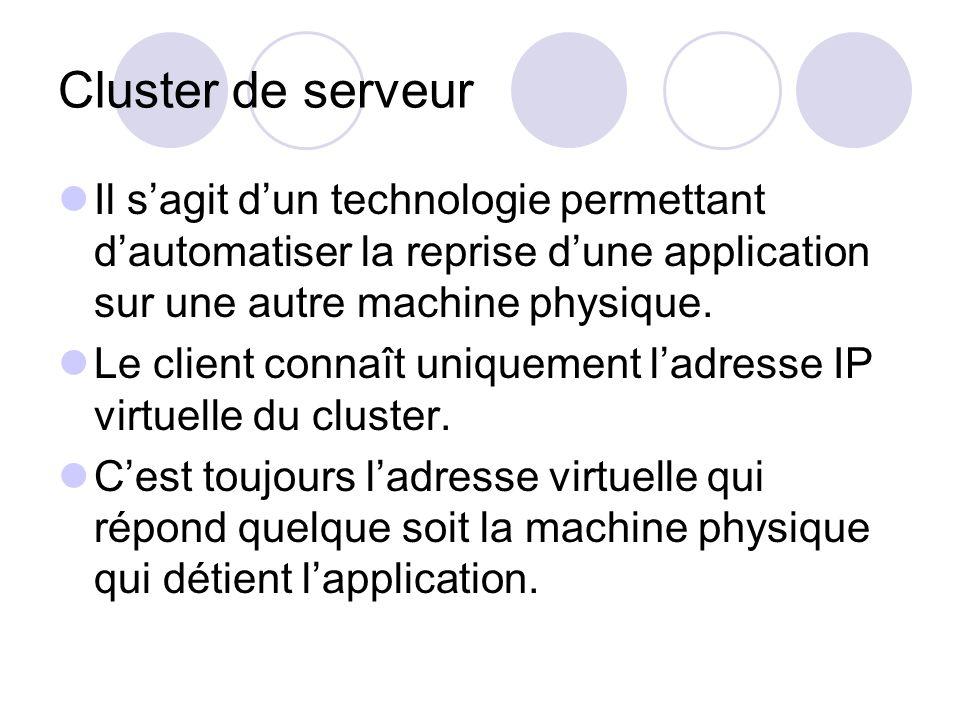 Cluster de serveur Il sagit dun technologie permettant dautomatiser la reprise dune application sur une autre machine physique. Le client connaît uniq