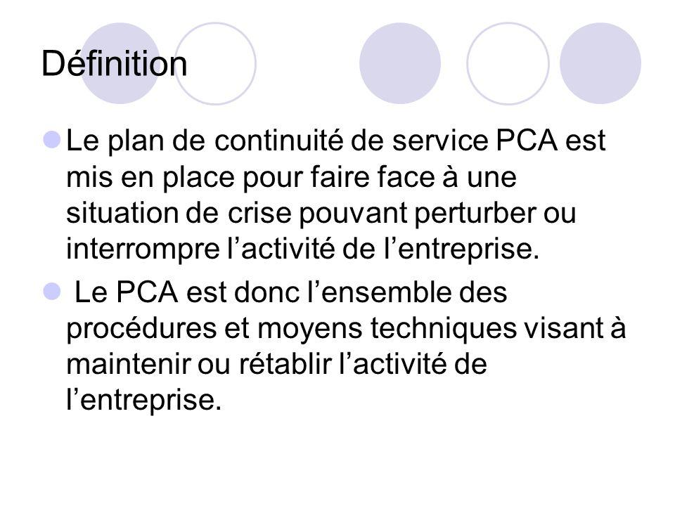 Définition Le plan de continuité de service PCA est mis en place pour faire face à une situation de crise pouvant perturber ou interrompre lactivité d