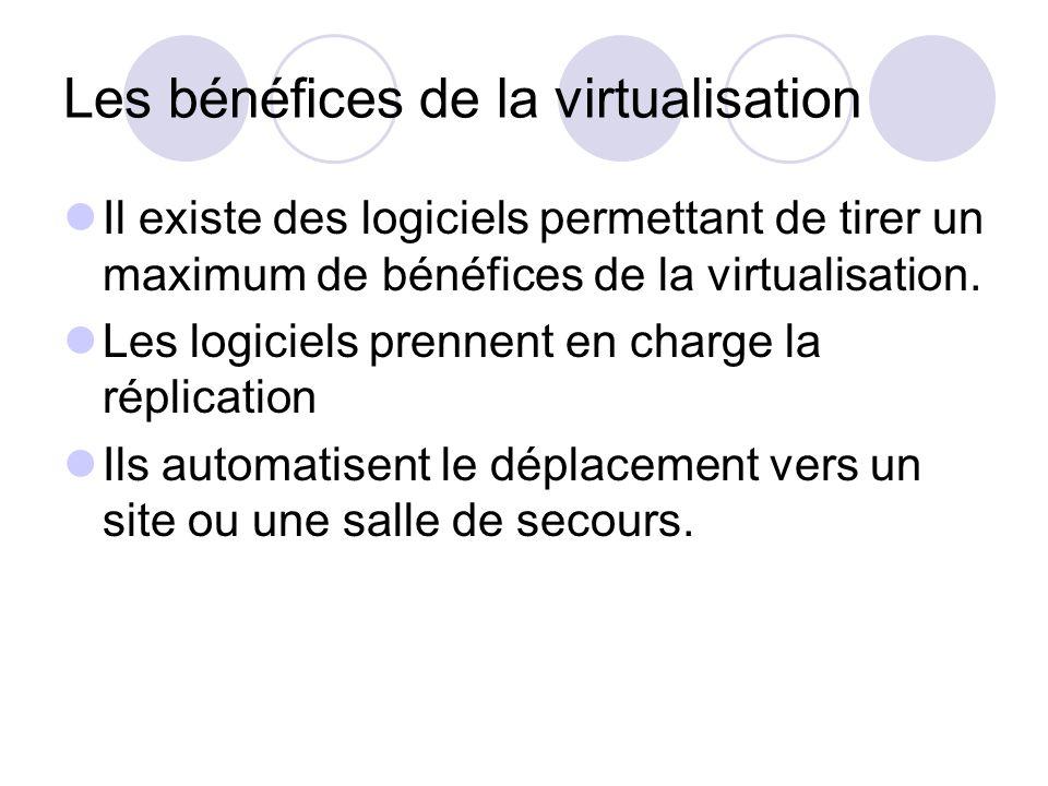 Les bénéfices de la virtualisation Il existe des logiciels permettant de tirer un maximum de bénéfices de la virtualisation. Les logiciels prennent en