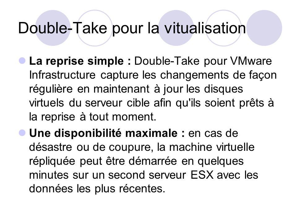 Double-Take pour la vitualisation La reprise simple : Double-Take pour VMware Infrastructure capture les changements de façon régulière en maintenant