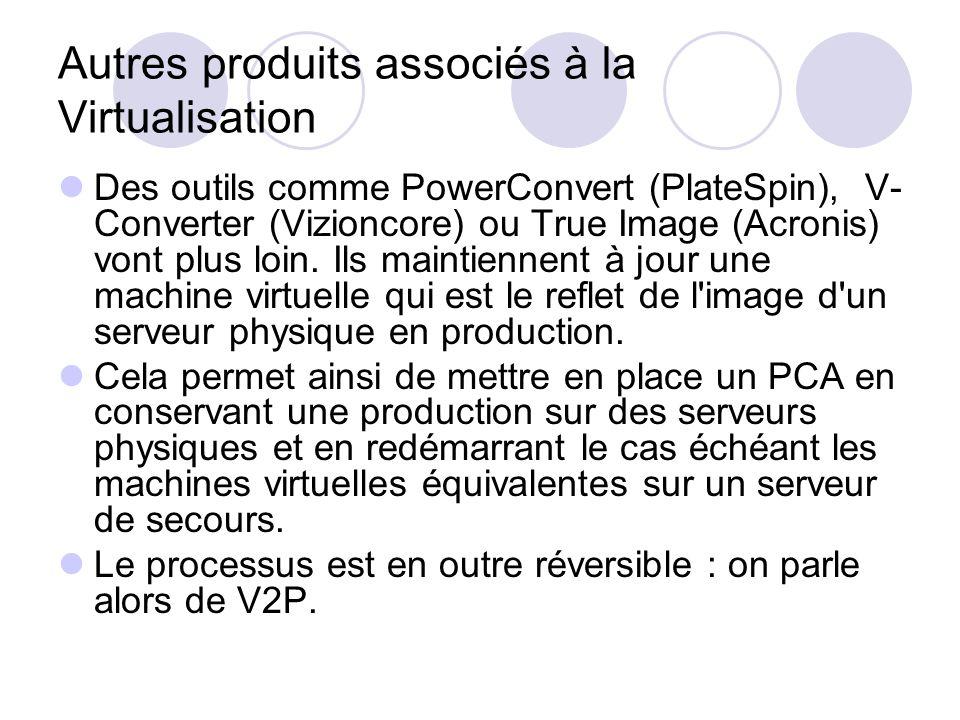 Autres produits associés à la Virtualisation Des outils comme PowerConvert (PlateSpin), V- Converter (Vizioncore) ou True Image (Acronis) vont plus lo