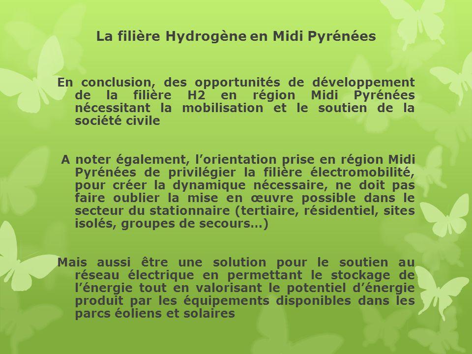 La filière Hydrogène en Midi Pyrénées En conclusion, des opportunités de développement de la filière H2 en région Midi Pyrénées nécessitant la mobilis