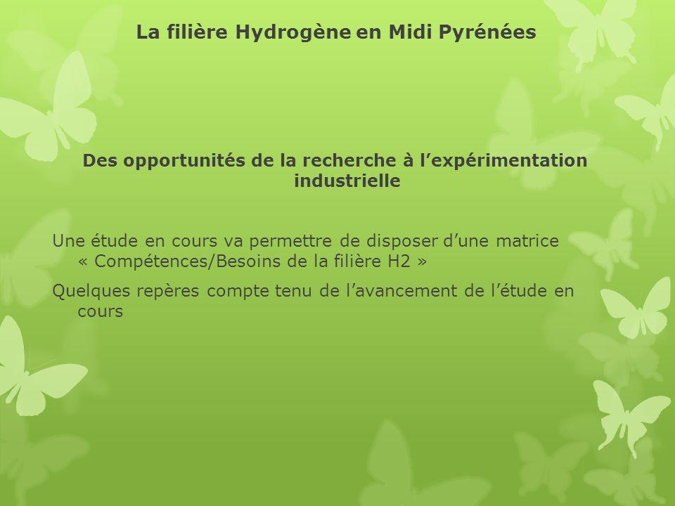 La filière Hydrogène en Midi Pyrénées Des opportunités de la recherche à lexpérimentation industrielle Une étude en cours va permettre de disposer dun