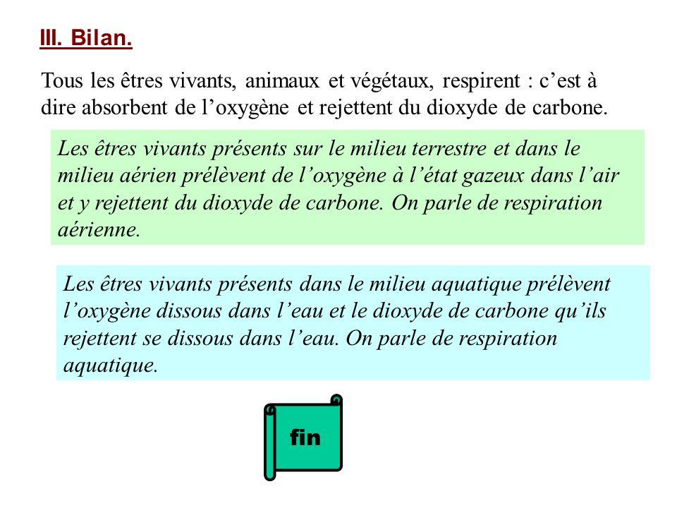 III. Bilan. Tous les êtres vivants, animaux et végétaux, respirent : cest à dire absorbent de loxygène et rejettent du dioxyde de carbone. Les êtres v