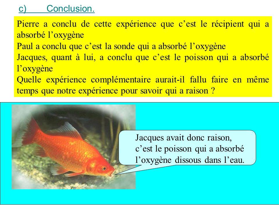 c)Conclusion. Pierre a conclu de cette expérience que cest le récipient qui a absorbé loxygène Paul a conclu que cest la sonde qui a absorbé loxygène