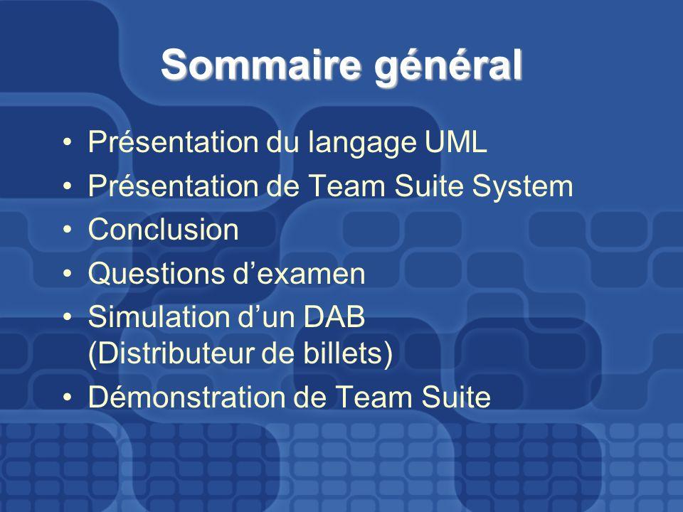 Sommaire général Présentation du langage UML Présentation de Team Suite System Conclusion Questions dexamen Simulation dun DAB (Distributeur de billet