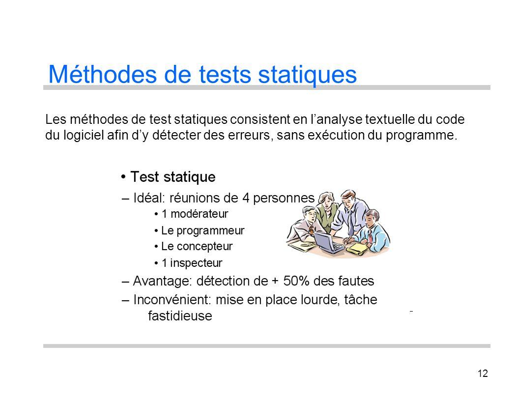12 Méthodes de tests statiques Les méthodes de test statiques consistent en lanalyse textuelle du code du logiciel afin dy détecter des erreurs, sans
