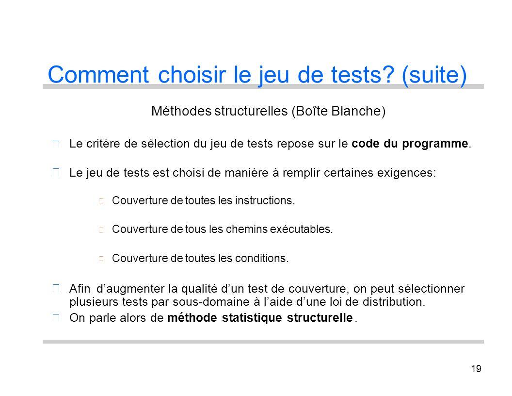 19 Comment choisir le jeu de tests? (suite) Méthodes structurelles (Boîte Blanche) Le critère de sélection du jeu de tests repose sur le code du progr