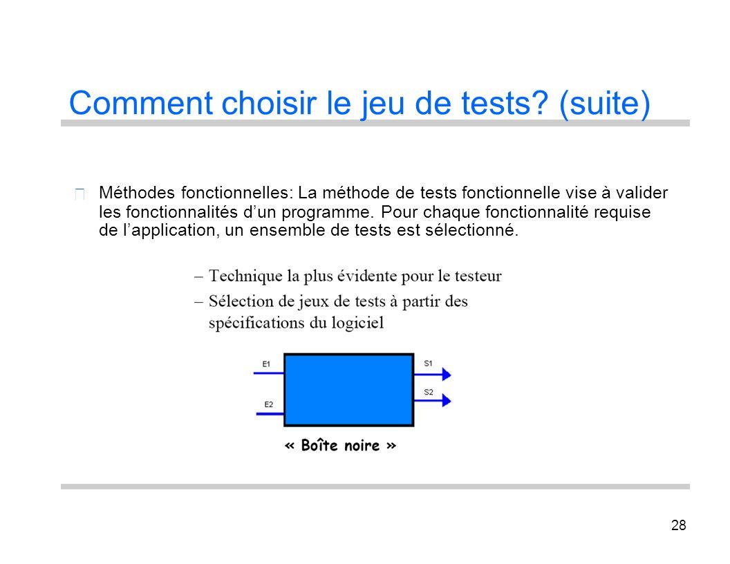 28 Comment choisir le jeu de tests? (suite) Méthodes fonctionnelles: La méthode de tests fonctionnelle vise à valider les fonctionnalités dun programm