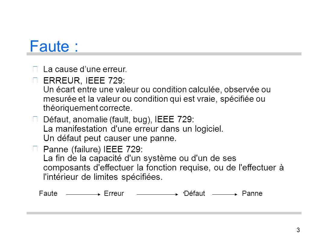 3 Faute : La cause dune erreur. ERREUR, IEEE 729: Un écart entre une valeur ou condition calculée, observée ou mesurée et la valeur ou condition qui e