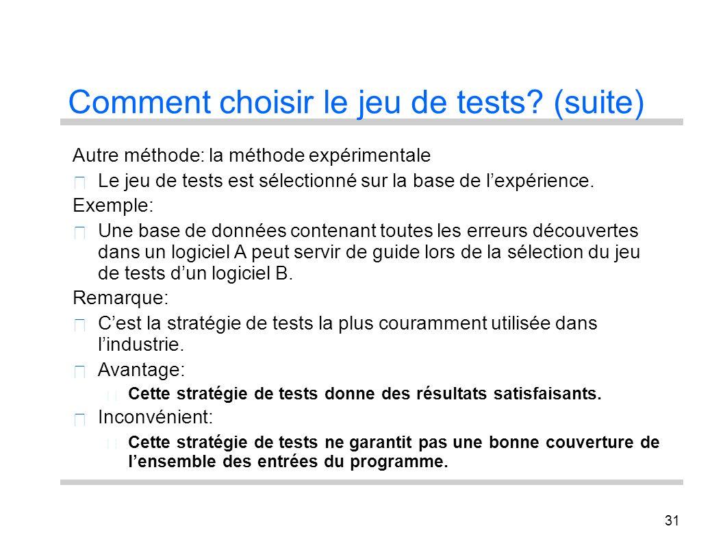31 Comment choisir le jeu de tests? (suite) Autre méthode: la méthode expérimentale Le jeu de tests est sélectionné sur la base de lexpérience. Exempl