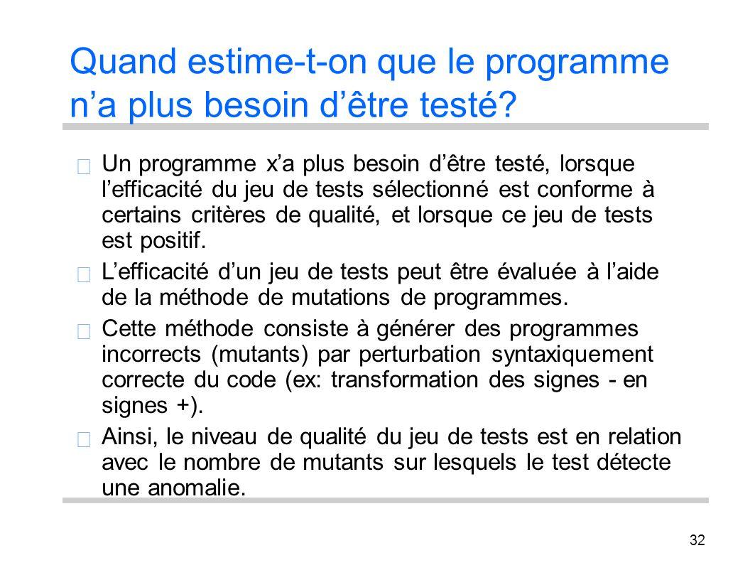 32 Quand estime-t-on que le programme na plus besoin dêtre testé? Un programme xa plus besoin dêtre testé, lorsque lefficacité du jeu de tests sélecti