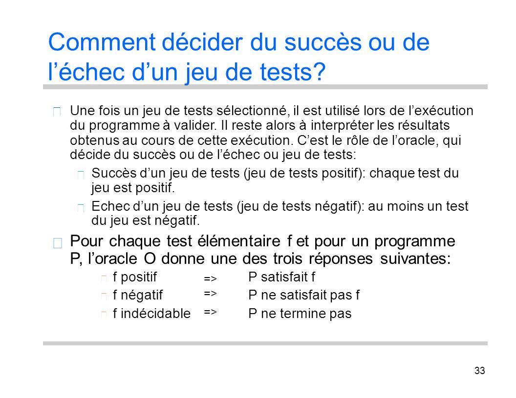 33 Comment décider du succès ou de léchec dun jeu de tests? Une fois un jeu de tests sélectionné, il est utilisé lors de lexécution du programme à val