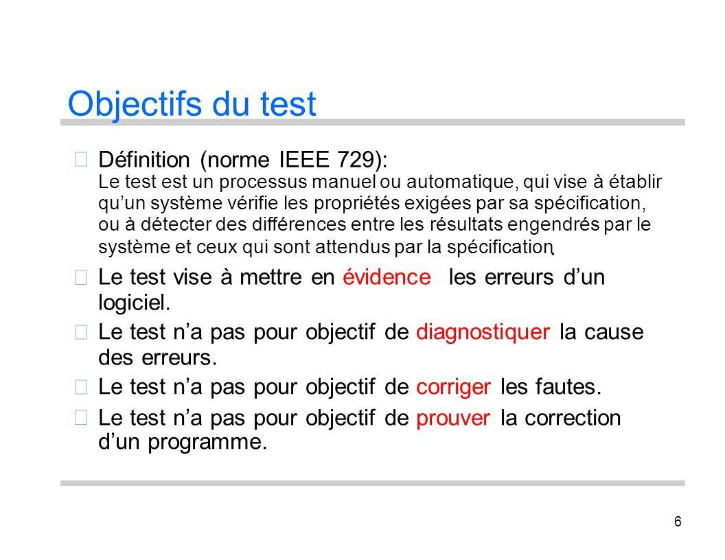 6 Objectifs du test Définition (norme IEEE 729): Le test est un processus manuel ou automatique, qui vise à établir quun système vérifie les propriété