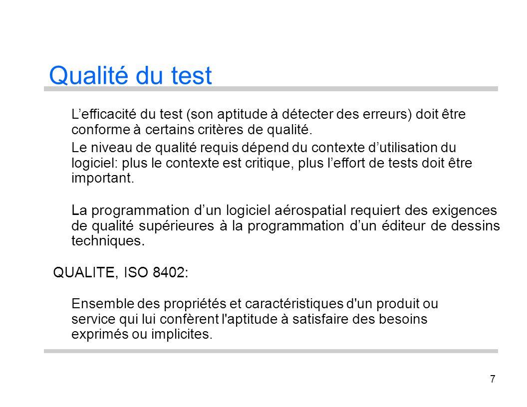 7 Qualité du test Lefficacité du test (son aptitude à détecter des erreurs) doit être conforme à certains critères de qualité. Le niveau de qualité re