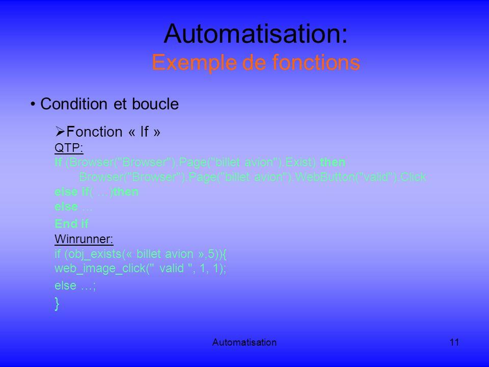 Automatisation11 Automatisation: Exemple de fonctions Condition et boucle Fonction « If » QTP: If (Browser(