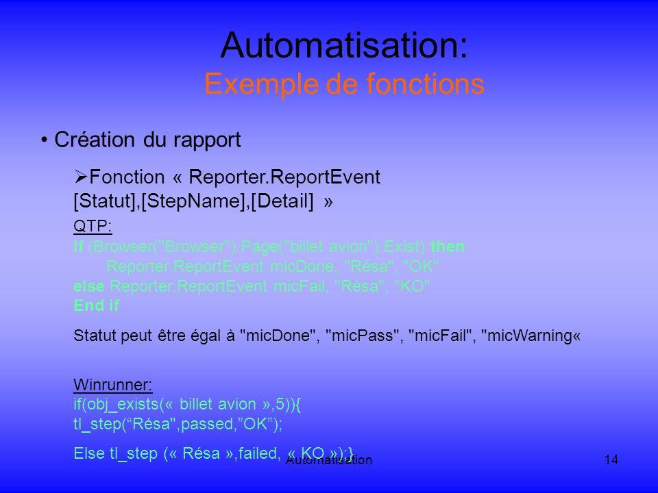 Automatisation14 Automatisation: Exemple de fonctions Création du rapport Fonction « Reporter.ReportEvent [Statut],[StepName],[Detail] » QTP: If (Brow