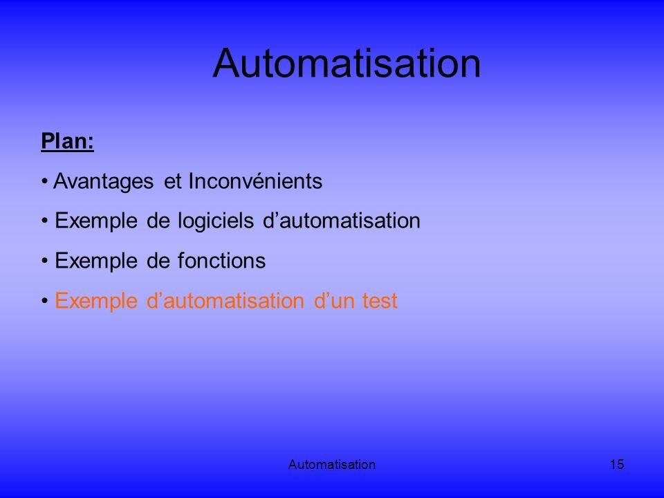 Automatisation15 Automatisation Plan: Avantages et Inconvénients Exemple de logiciels dautomatisation Exemple de fonctions Exemple dautomatisation dun