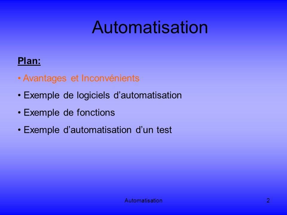 Automatisation3 Automatisation: Avantages et Inconvénients Avantages de lautomatisation: Meilleur couverture de lapplication: Exécution de plus de tests automatiques que manuels en un même intervalle de temps.