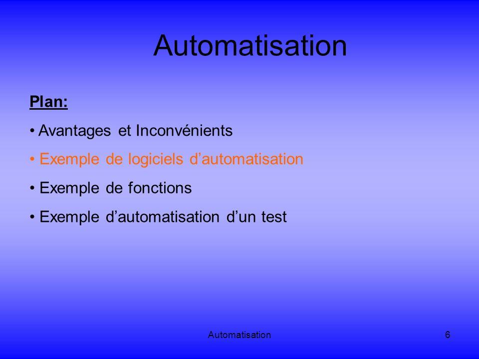 Automatisation6 Plan: Avantages et Inconvénients Exemple de logiciels dautomatisation Exemple de fonctions Exemple dautomatisation dun test