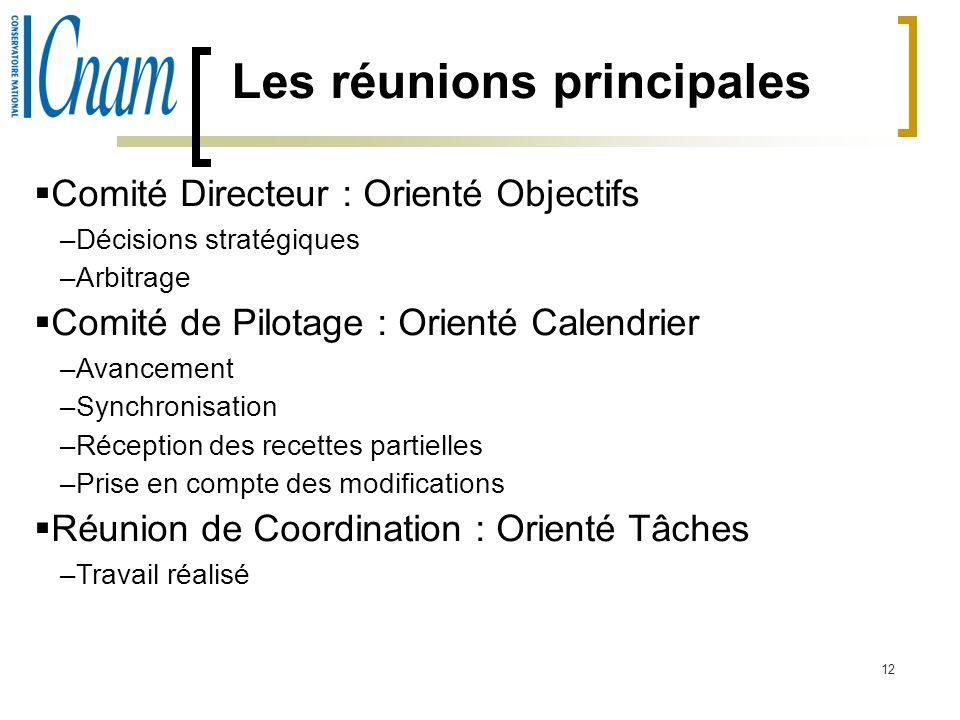 12 Les réunions principales Comité Directeur : Orienté Objectifs –Décisions stratégiques –Arbitrage Comité de Pilotage : Orienté Calendrier –Avancemen