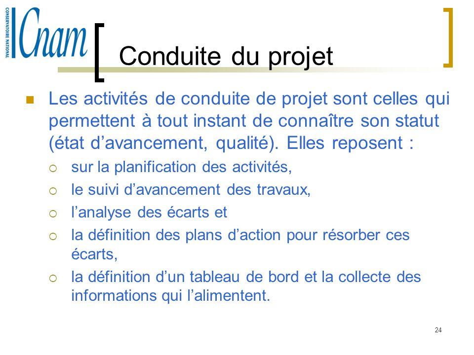 24 Conduite du projet Les activités de conduite de projet sont celles qui permettent à tout instant de connaître son statut (état davancement, qualité