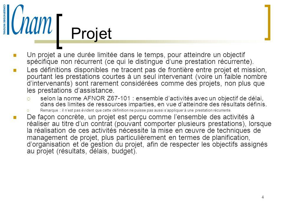 4 Projet Un projet a une durée limitée dans le temps, pour atteindre un objectif spécifique non récurrent (ce qui le distingue dune prestation récurre