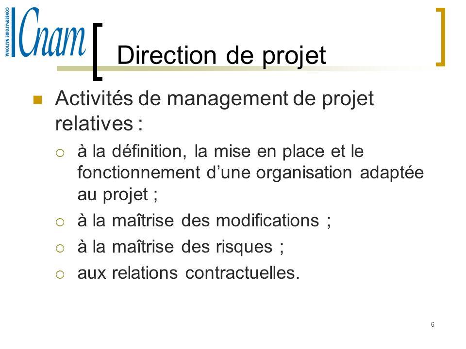 6 Activités de management de projet relatives : à la définition, la mise en place et le fonctionnement dune organisation adaptée au projet ; à la maît
