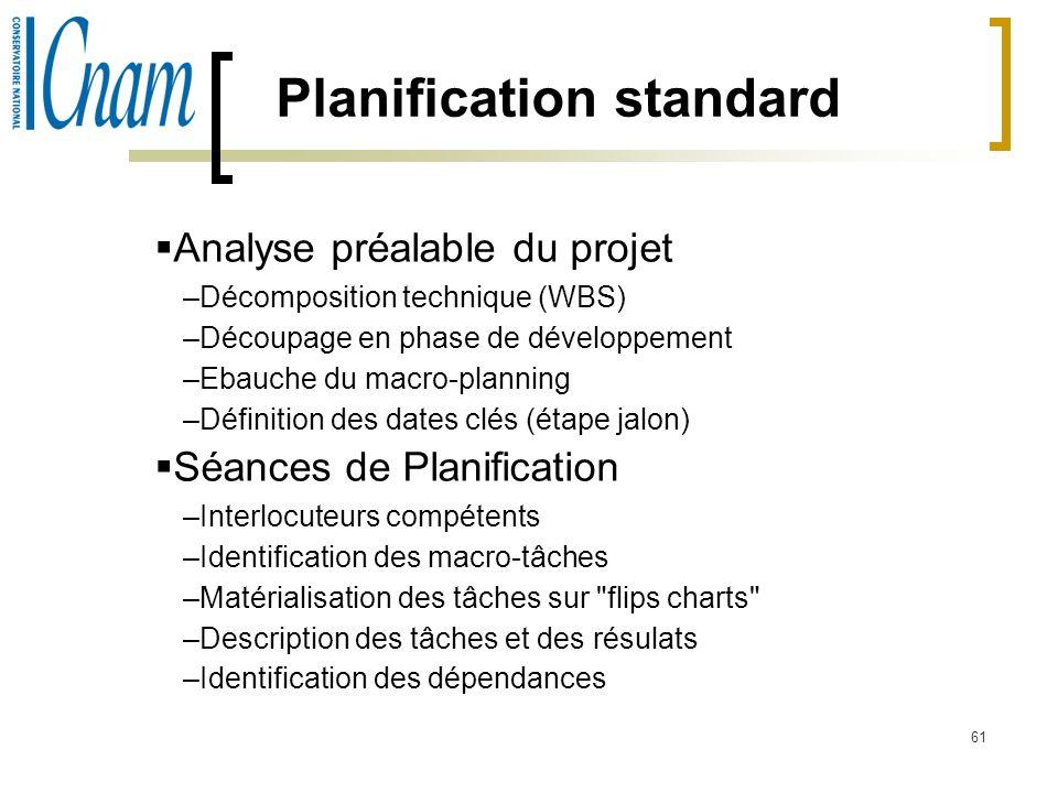 61 Planification standard Analyse préalable du projet –Décomposition technique (WBS) –Découpage en phase de développement –Ebauche du macro-planning –